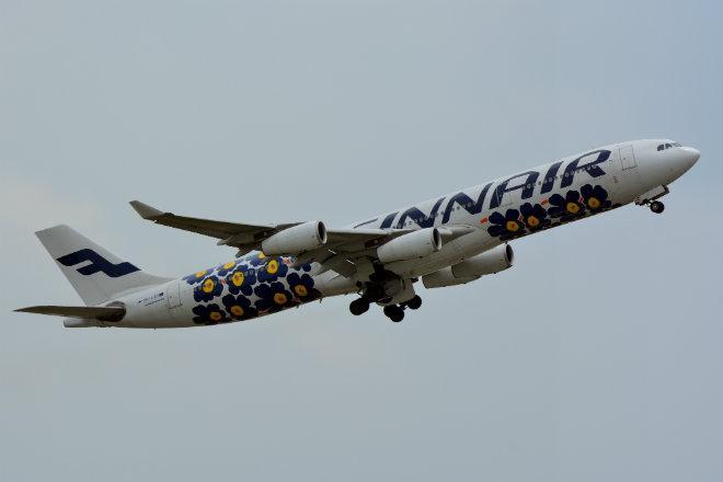 Finnair Airbus A340-300 OH-LQD Marimekko Unikko NRT