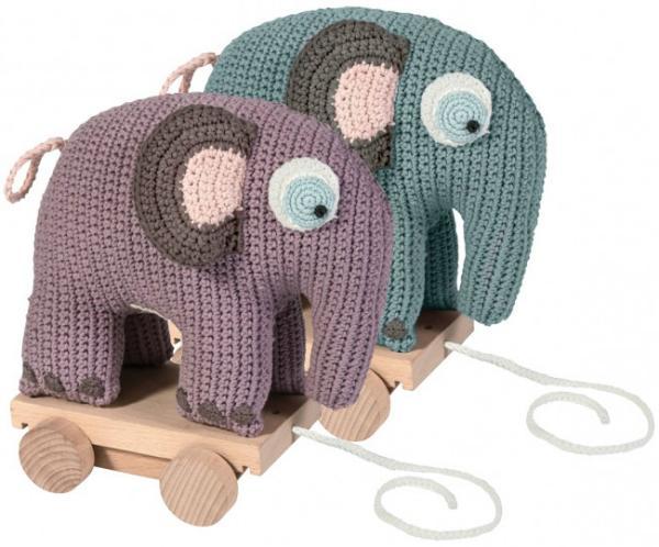 Sebra Häkeltier auf Rädern Elefant