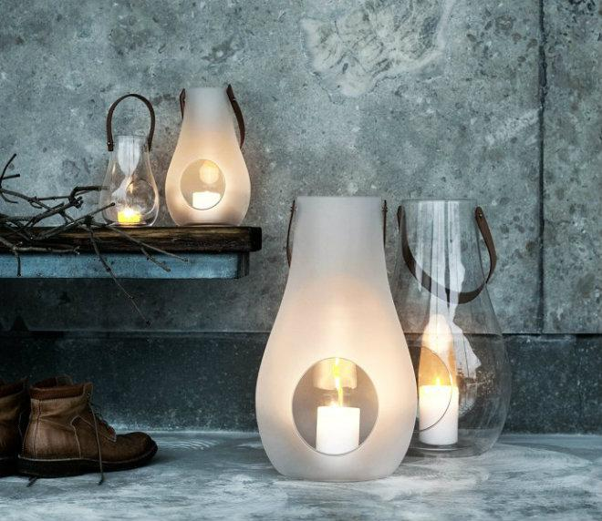 Holmegaard Design with light Laterne klar Höhe 45 cm