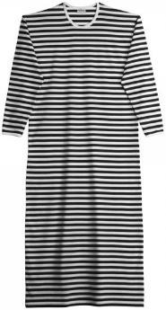Marimekko Tasaraita Pitkämekko Nachthemd schwarz weiß