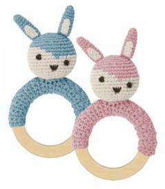 Sebra Rassel Kaninchen auf Holzring gehaekelt