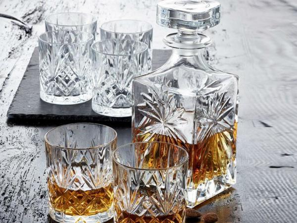Lyngby Glas Kristall Melodia Whisky 31 cl 6 Stueck und Karaffe