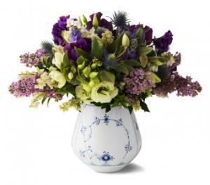 Royal Copenhagen Musselmalet Gerippt Vase Hoehe 15 cm