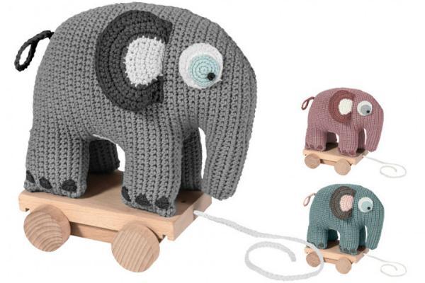 Sebra Nachziehspielzeug Elefant gehaekelt