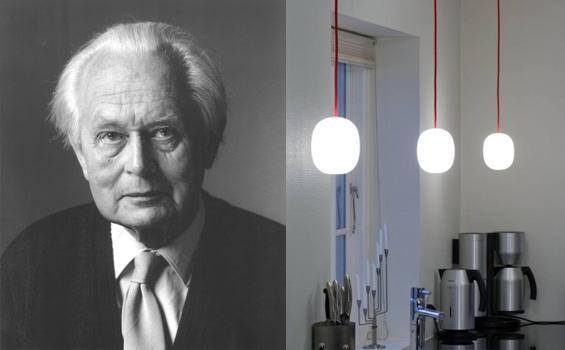 Piet Hein und die Super-egg Pendelleuchte Opalglas rotes Kabel