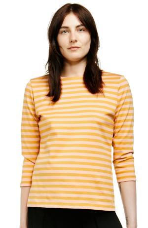 Marimekko Tasaraita Ilma T-Shirt dunkelgelb