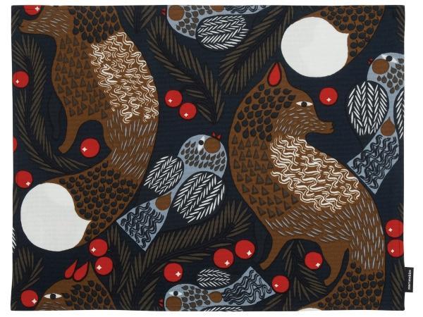 Marimekko-Ketunmarja-Tischset-beschichtet-dunkelblau-braun-18570