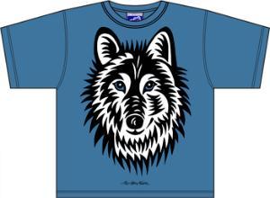Bo-Bendixen-Kids-T-Shirt-blau-Wolf
