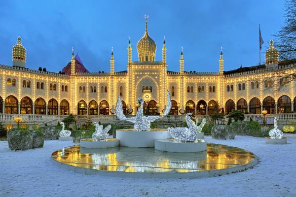 Maurischer Palast in Tivoli Gardens an Weihnachten