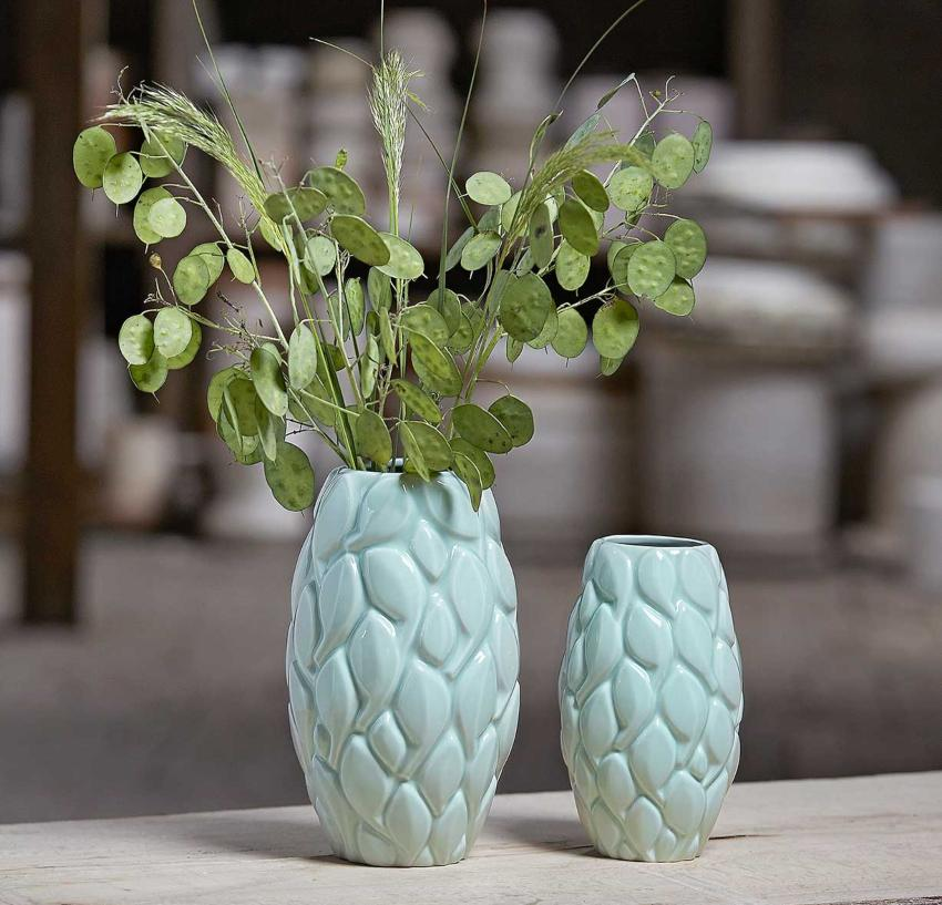 Knabstrup Keramik Leaf Vase Höhe 21 cm