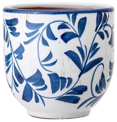 Bloomingville Blumenuebertopf Terrakotta mit blauer Dekoration Hoehe 14 cm Skandinavische Blumenuebertoepfe