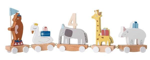 Bloomingville-Geburtstagszug-mit-Baer-Schwan-Elefant-Giraffe-Nashorn-Hoehe-15-5-Laenge-50-cm