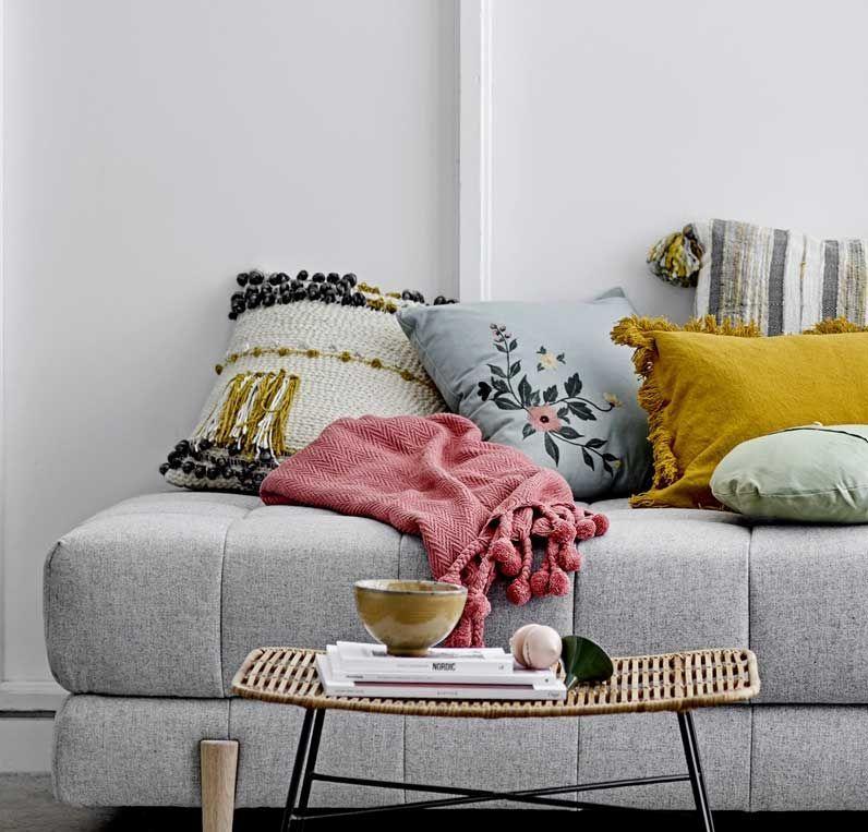 Bloomingville-Kissen-Baumwolle-mehrfarbig-gestrickt-mit-Fransen-45x45-cm