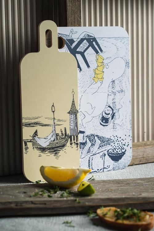 Muurla Mumin Originals Abenteuer auf dem Wasser Schneidebrett Servierbrett 13x33 cm mit 2 Motiven
