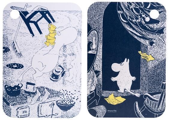 Muurla Mumin Originals das unbekannte Zuhause Schneidebrett Servierbrett 21x31 cm mit 2 Motiven
