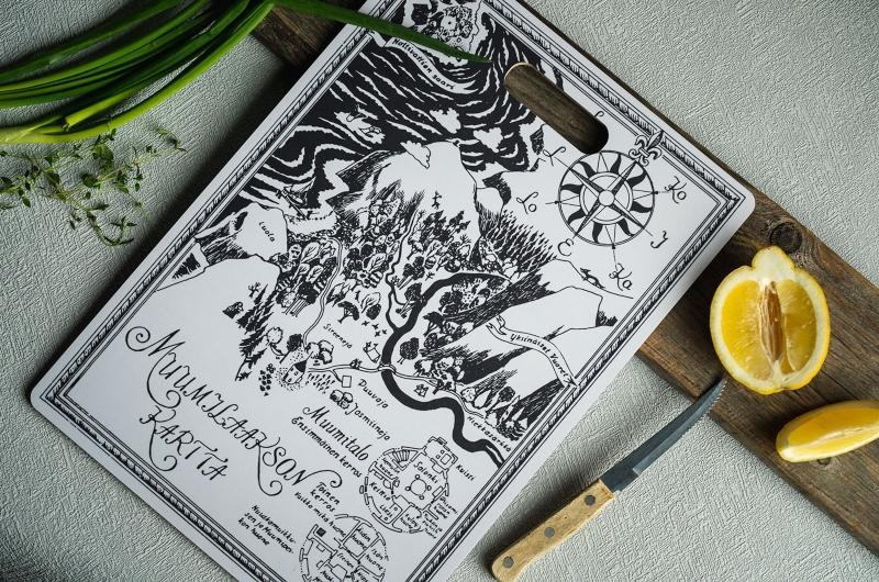 Muurla Mumin Originals die Karte Schneidebrett Servierbrett 30x43 cm mit 2 Motiven