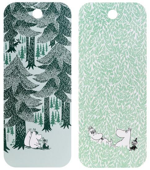 Muurla Mumin in der Tiefe des Waldes Schneidebrett Servierbrett 18x44 cm mit 2 Motiven