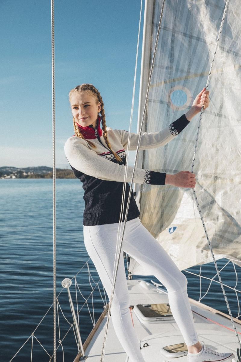 Dale-of-Norway-Lahti-Damen-Merino-Pullover-weiss-navyblau-mit-Kragen