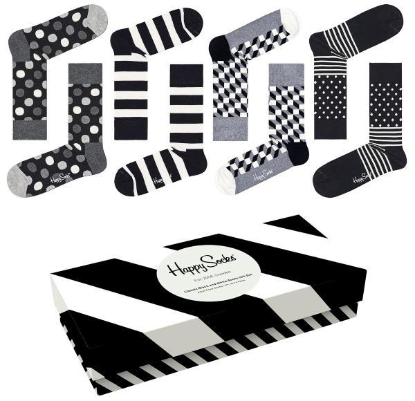 Happy Socks Unisex Struempfe Classic Schwarz Weiß Geschenkbox 4 Stk