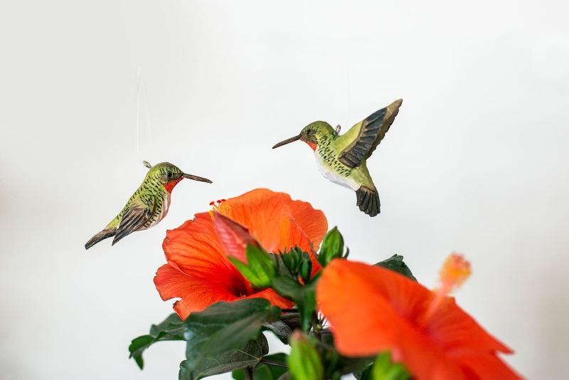 Wildlife Garden DecoBird Rubinkehlkolibris 2er Set handgeschnitzt skandi-style