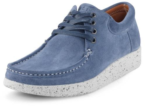 Nature Footwear Damen Sneaker Wildleder Anna nordic blue weiss
