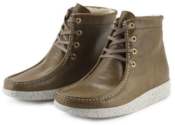Nature Footwear Damen Stiefel mit Futter niedrig Glattleder Asta oliv weiss