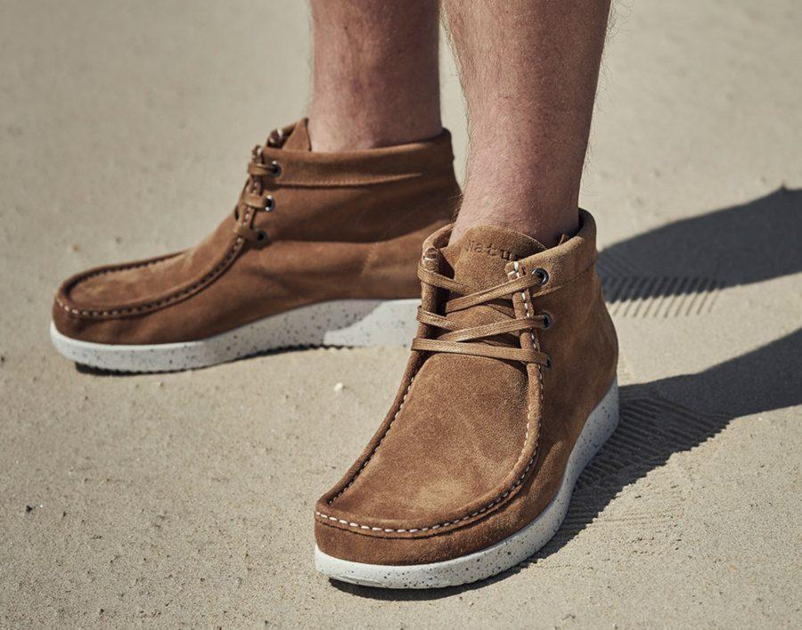 Nature-Footwear-Herren-Stiefel-niedrig-Wildleder-Anton-toffee-weiss
