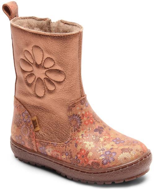 Bisgaard Dora Lederstiefel mit Reißverschluß / Wollfutter Blumen