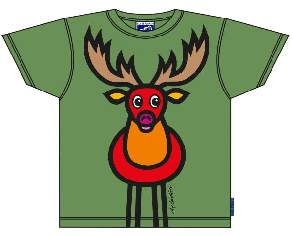 Bo Bendixen Kinder T-Shirt grün Hirsch