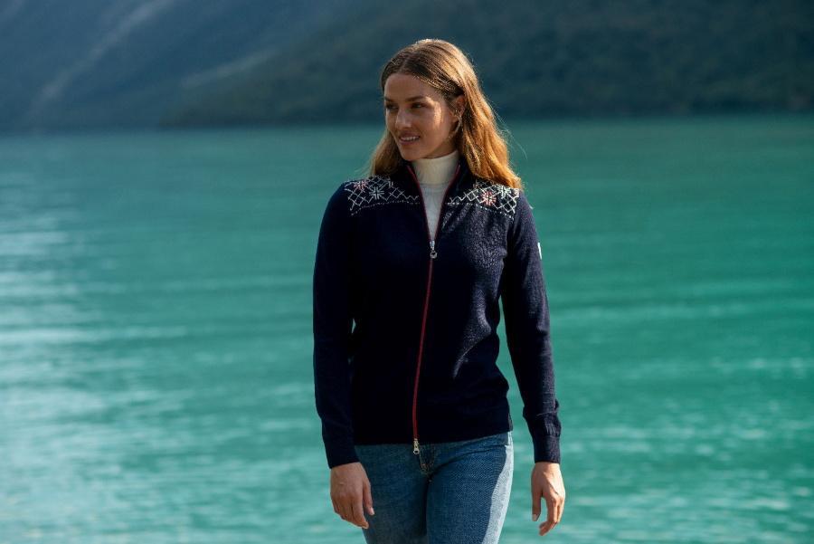 Dale of Norway Damen Merino Strickjacke marineblau, gebroche
