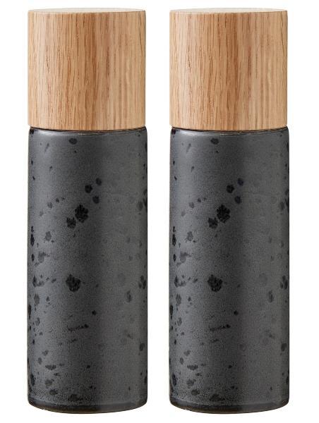 Bitz Holz Steingut Salz- Pfeffermuehle Hoehe 16,7 cm 2 tlg schwarz