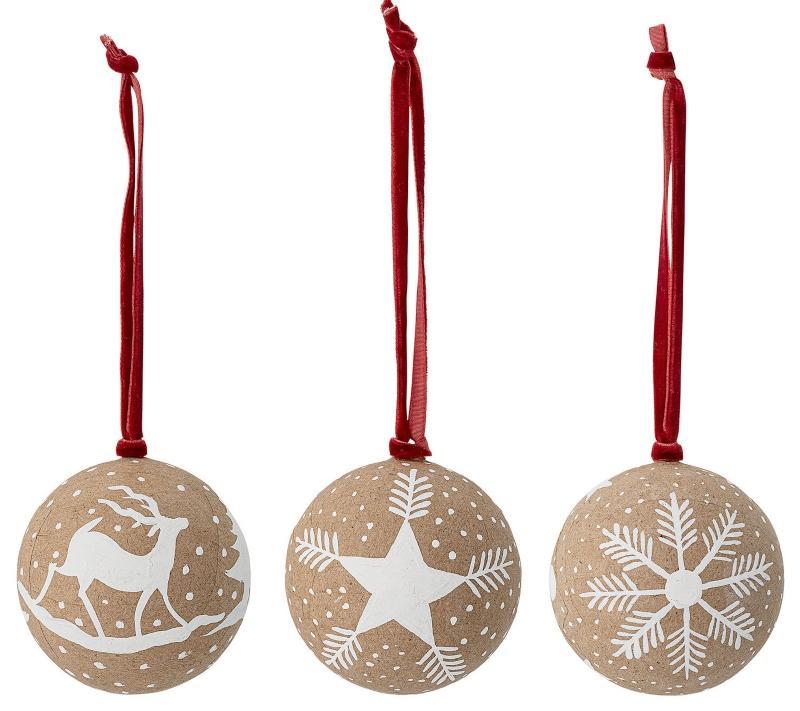 Bloomingville Baumkugel 3 Stk 7,5 cm Papier skandinavischer-weihnachtsbaum-schmuecken