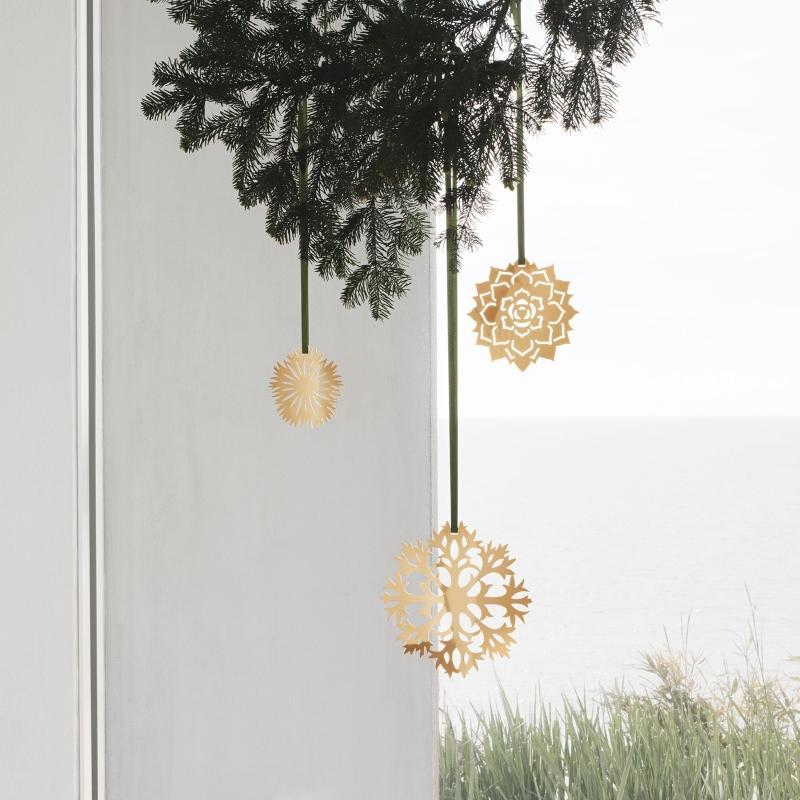 Georg Jensen Weihnachten 2020 Eisblume Deko Set 3 tlg gold skandinavischer-weihnachtsbaum-schmuecken