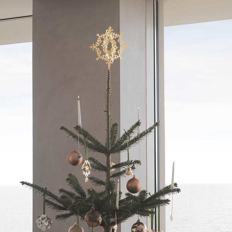 Georg Jensen Weihnachten 2020 Stern zum Haengen Baumspitze Hoehe 25,8 cm Eisblume gold skandinavischer-weihnachtsbaum-schmuecken