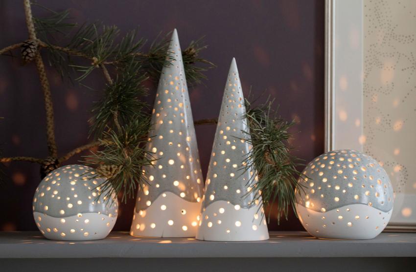 Kähler Design Nobili Teelichtleuchter Kegel Höhe 19 cm - Skandinavische Weihnachtstischdeko