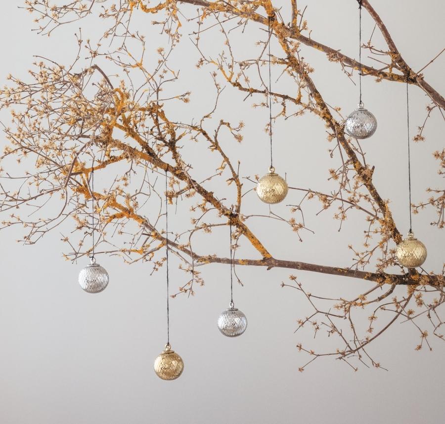 Lyngby Porcelaen Rhombe Christbaumkugel gold scandi-weihnachten