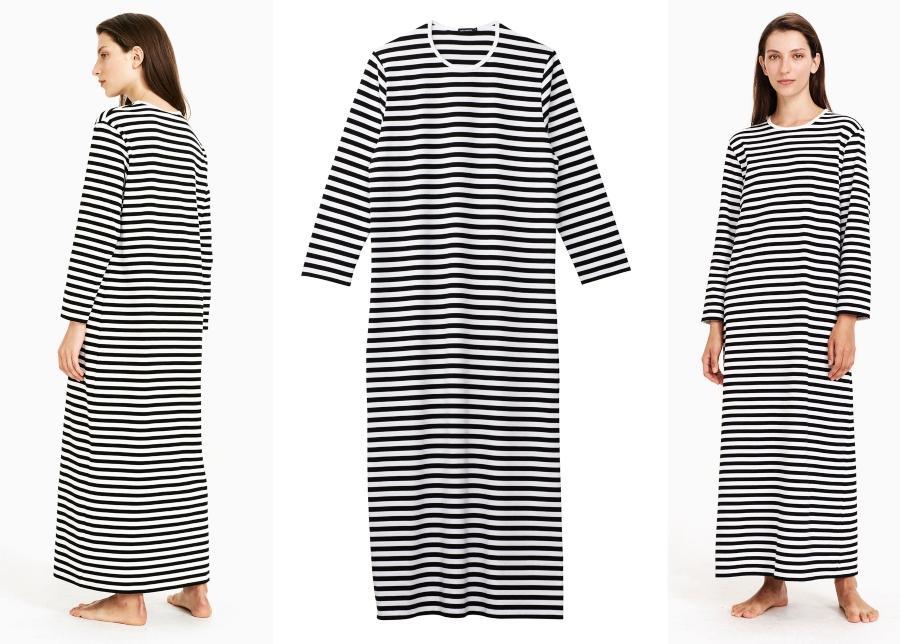 Marimekko-Unisex-Nachthemd-Langarm-Jersey-Tasaraita-Katju