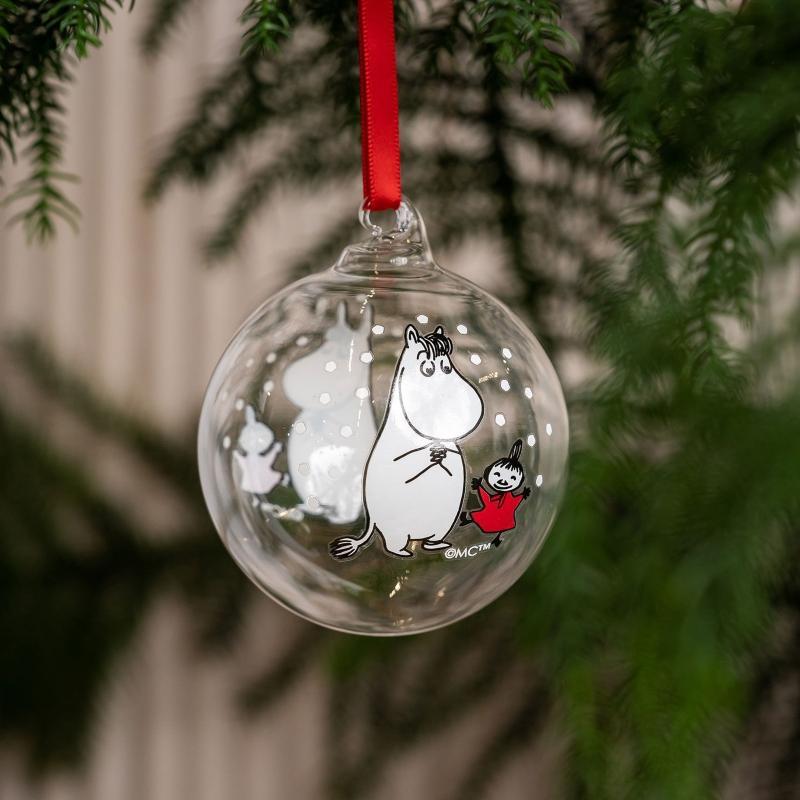 Muurla Mumin Snorkmaedchen und Little My Christbaumkugel Vorder- Rueckseite dekoriert