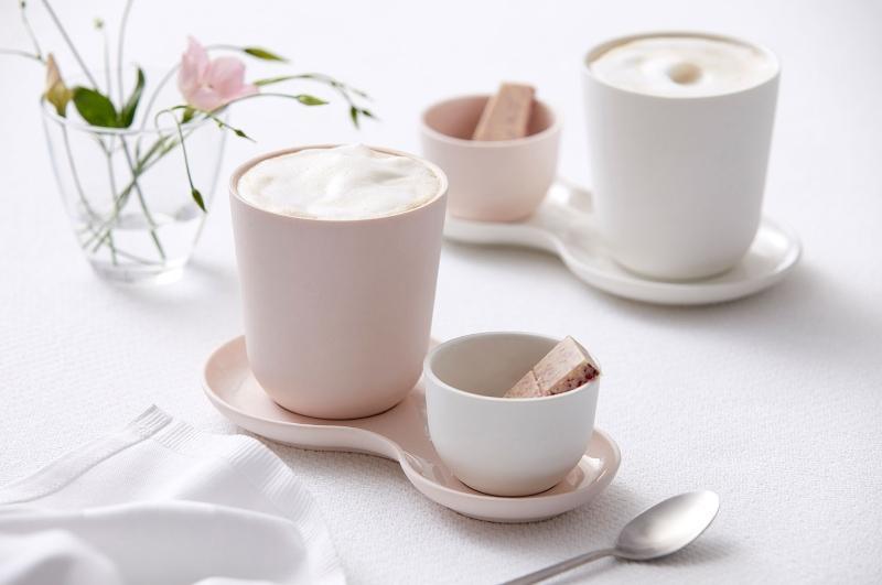 Nudge Coffee Sweets Kaffeeset 3 tlg Becher 0,33 l Schale 7 cm Teller 11x20 cm rosa