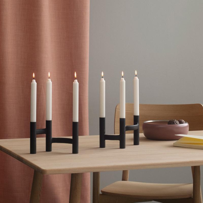 Stelton-Ora-Kerzenstaender-3-flammig-Hoehe-13-cm-schwarz-elegante-kerzenstaender
