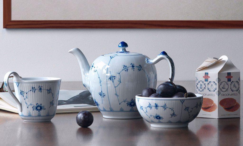 Royal Copenhagen Musselmalet Gerippt Teekanne 1 l