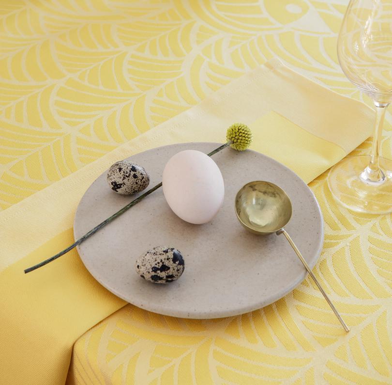 Georg Jensen Damask Ostern Tischdecke zitronencremegelb