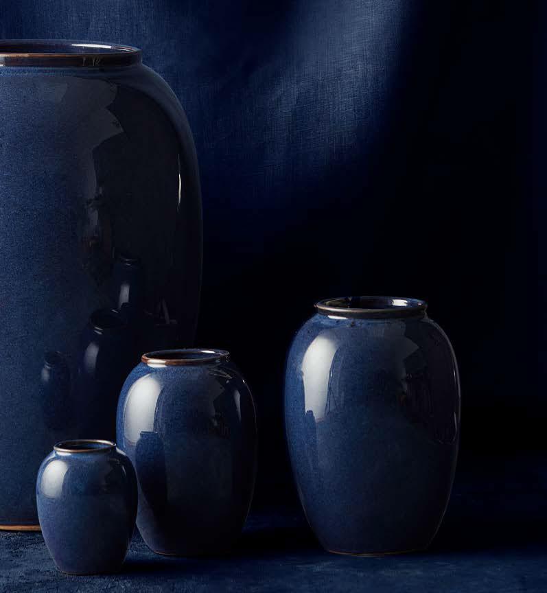 Bitz Steingut Vase Hoehe 50 cm blau