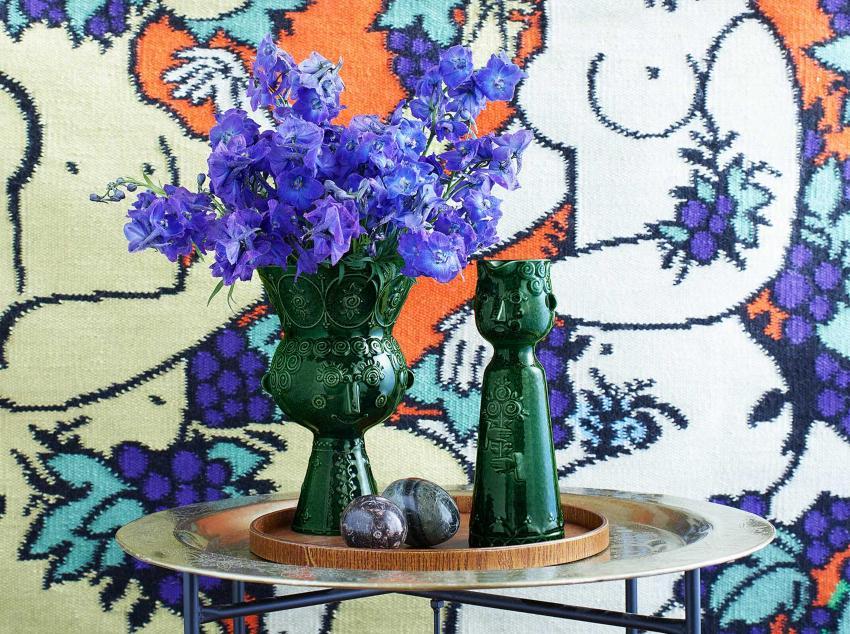 Bjørn Wiinblad Carmen Vase Höhe 23 cm dunkelgrün