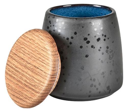 Steingut Dose Hoehe 12 cm schwarz dunkelblau