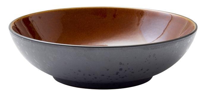 Steingut Schuessel 24 cm schwarz, bernstein