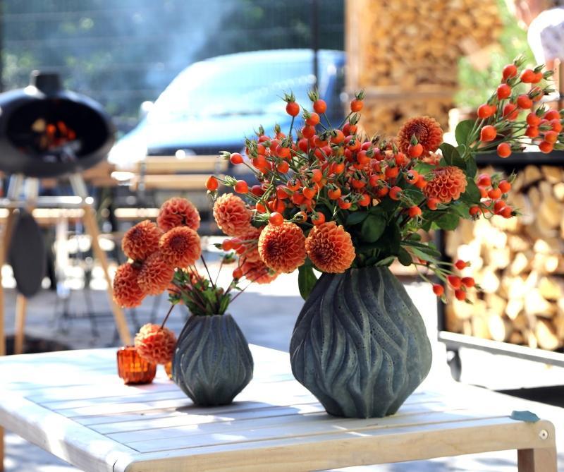 Morso Flame Vase Hoehe 15 cm blau