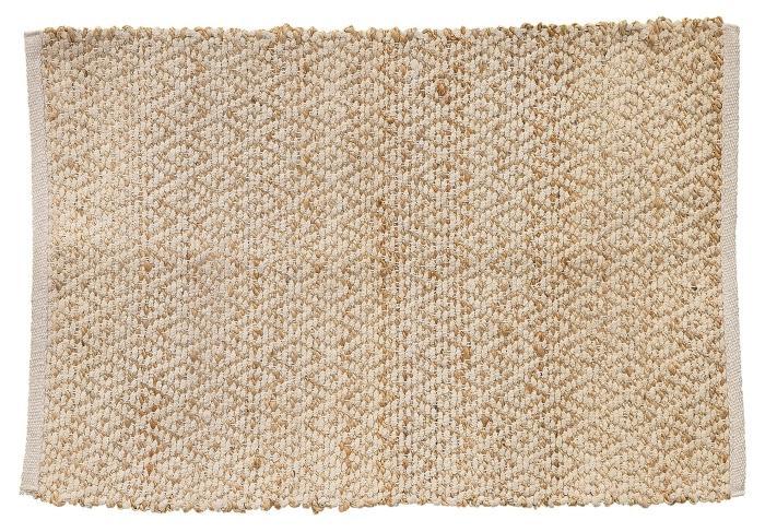 Villa Collection Teppichlaeufer mit Rautenoptik Natur Jute Baumwolle 60x90 cm