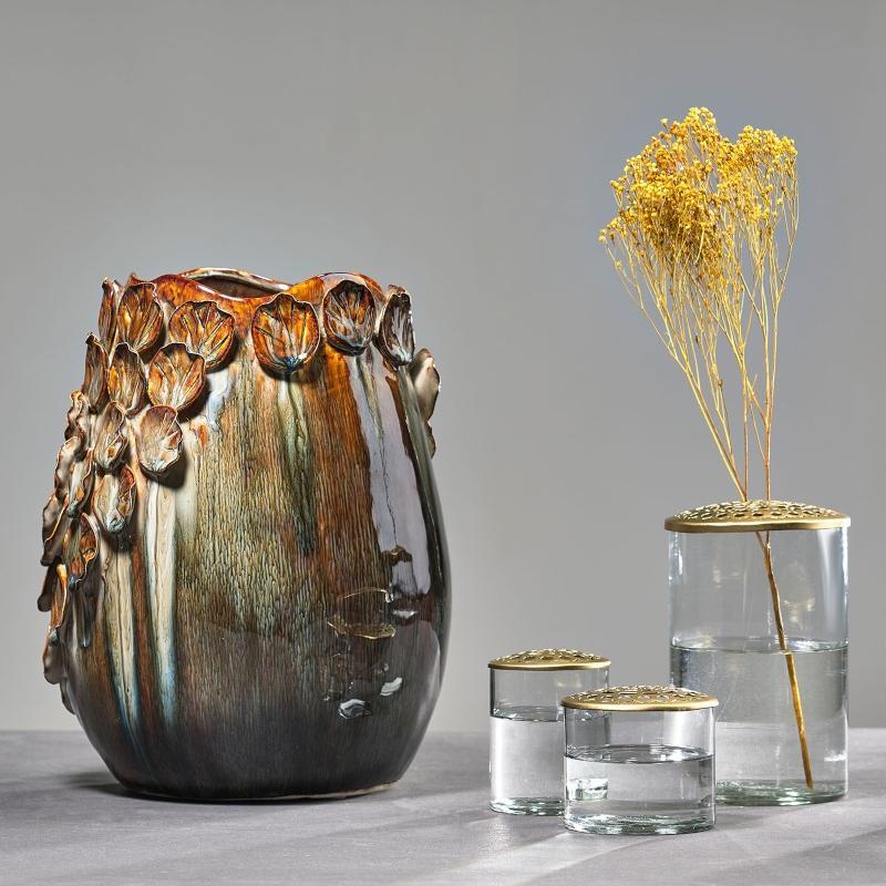 Villa-Collection-Vase-Blaetterdekor-Hoehe-29-5-cm-Steingut-braun-grau