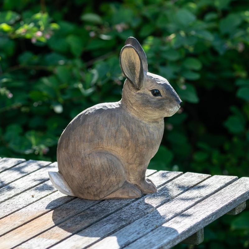 Wildlife Garden DecoAnimal Europaeisches Kaninchen handgeschnitzt nordischer-garten